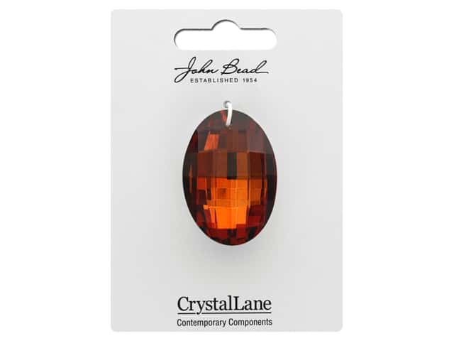 John Bead Crystal Lane Faceted Oval 27x37mm Amber