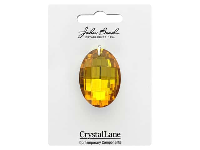John Bead Crystal Lane Faceted Oval 27x37mm Yellow