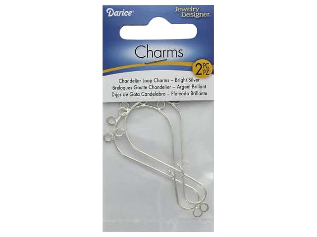Darice Chandelier Drop Loop Bright Silver 2pc