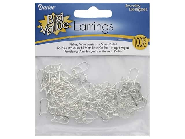Darice Earring Kidney Wire Silver Plated Brass 100pc