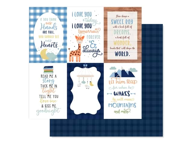 "Echo Park Collection Baby Boy Paper 12""x 12"" Journaling Cards 4""x 6"""