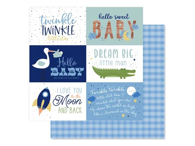 "Echo Park Collection Baby Boy Paper 12""x 12"" Journaling Cards 6""x 4"""