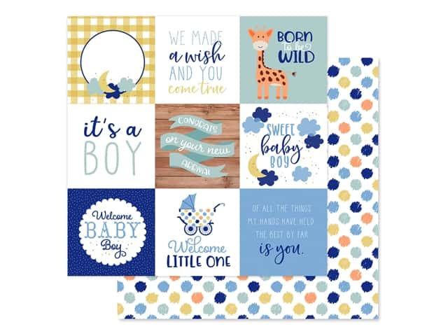 "Echo Park Collection Baby Boy Paper 12""x 12"" Journaling Cards 4""x 4"""