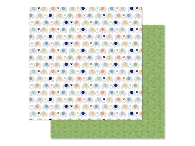 "Echo Park Collection Baby Boy Paper 12""x 12"" Elephants"