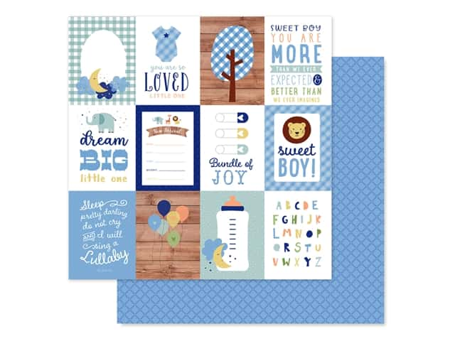 "Echo Park Collection Baby Boy Paper 12""x 12"" Journaling Cards 3""x 4"""