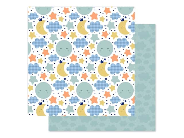 "Echo Park Collection Baby Boy Paper 12""x 12"" Moon & Stars"