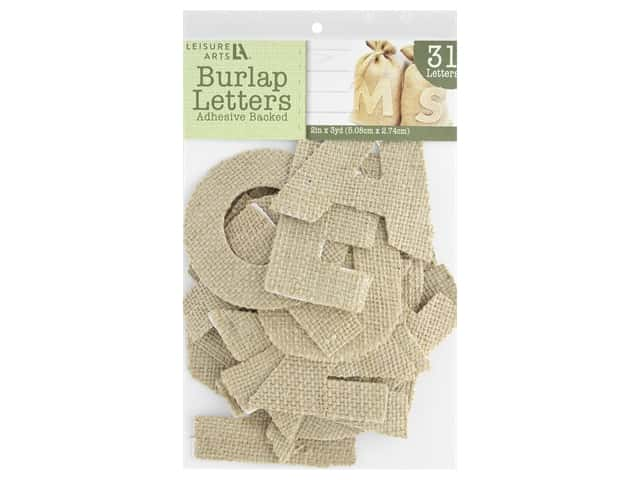 Leisure Arts Adhesive Burlap Letters - 3 1/4 in. Natural 31 pc.