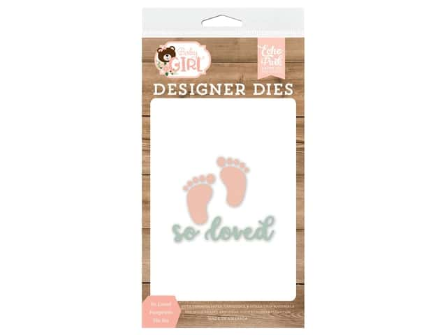 Echo Park Collection Baby Girl Die Set So Loved Footprints