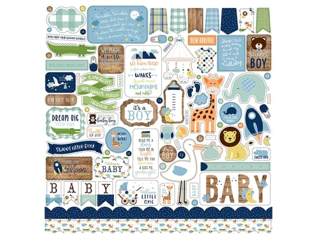 Echo Park Collection Baby Boy Sticker 12 in. x 12 in. Elements