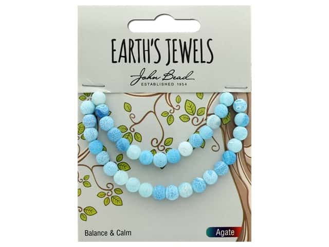 John Bead Semi Precious Bead Earth's Jewels Blue Agate 6mm Round Matte 8""