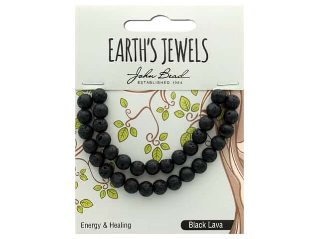 John Bead Semi Precious Bead Earth's Jewels Black Lava 6mm Round Matte 8""