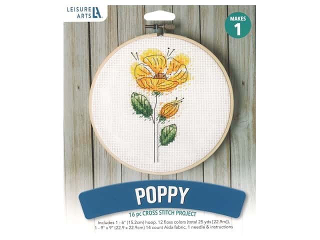 "Leisure Arts Kit Mini Maker Cross Stitch 6"" Poppy"
