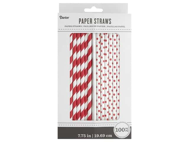 Darice Paper Straws White/Red 100pc