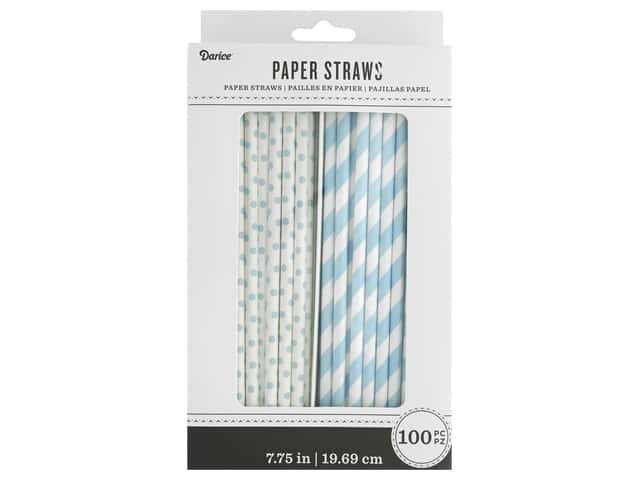 Darice Paper Straws White/Light Blue 100pc