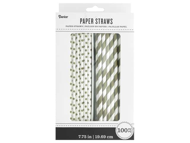 Darice Paper Straws White/Gold 100pc