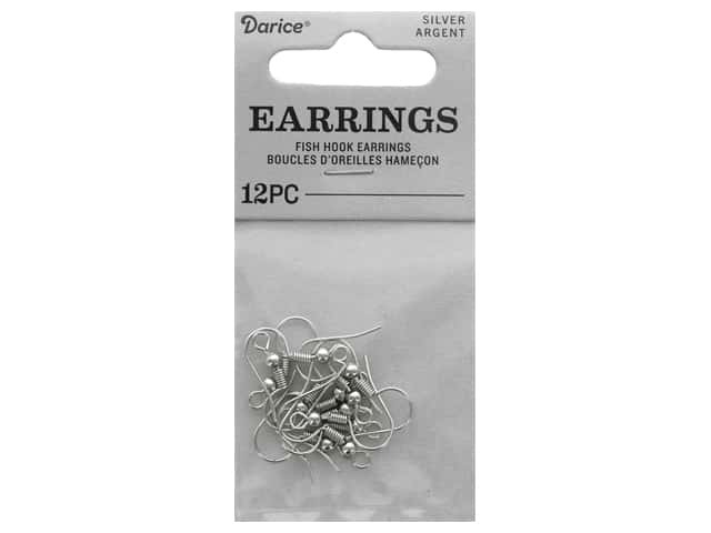"Darice Earring Fish Hook 1"" Nickel Free Silver 12pc"