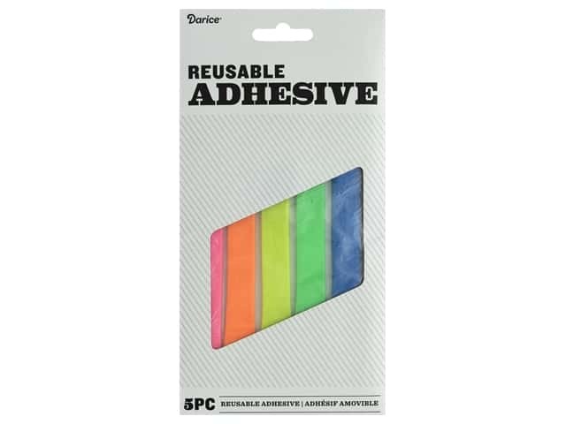 Darice Stick To It Reusable Adhesive Putty Strips Assorted Colors 5pc