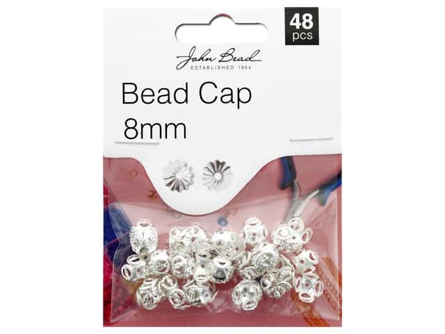 John Bead Must Have Findings Bead Cap 8mm Silver 48pc