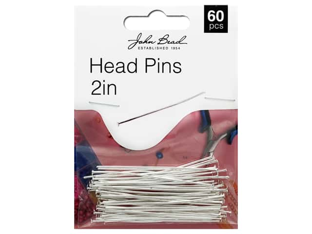 "John Bead Must Have Findings Head Pin 2"" 20g Antique Silver 60pc"