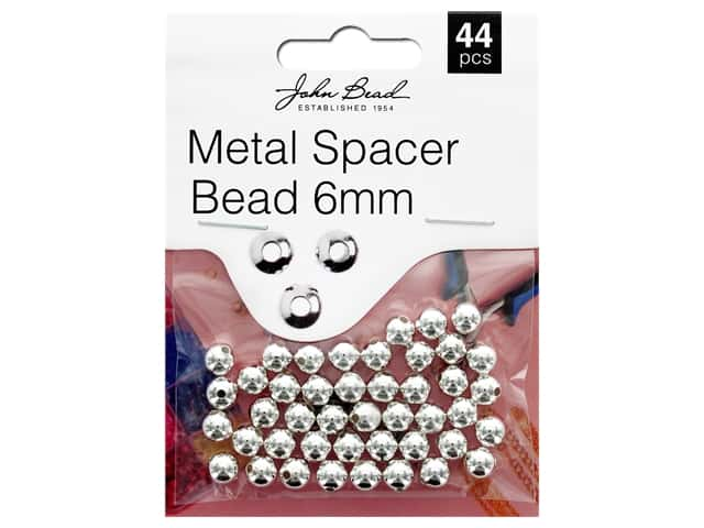 John Bead Must Have Findings Spacer Bead Metal 6mm Silver 44pc