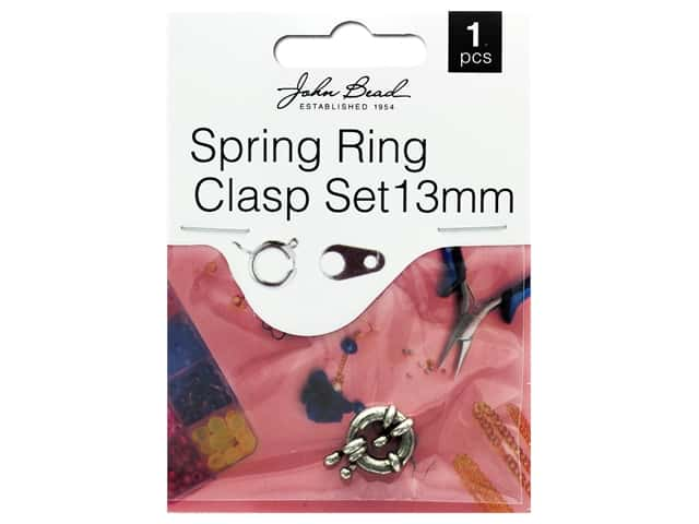 John Bead Must Have Findings Spring Ring Clasp 13mm Antique Silver