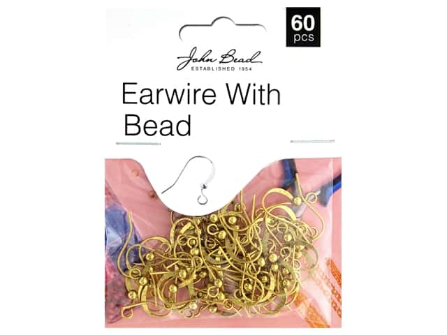 John Bead Must Have Findings Earwire With Bead Antique Gold 60pc