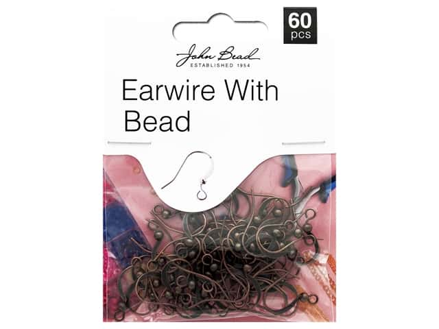 John Bead Must Have Findings Earwire With Bead Antique Copper 60pc