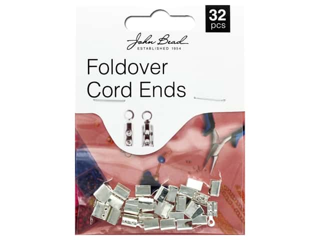 John Bead Must Have Findings Fold Over Cord End Silver 32pc