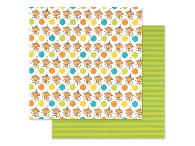 "Doodlebug Party Time Paper 12""x 12"" Monkeying Around"