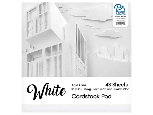Paper Accents 12 x 12 in. Cardstock Pad 48 pc. White