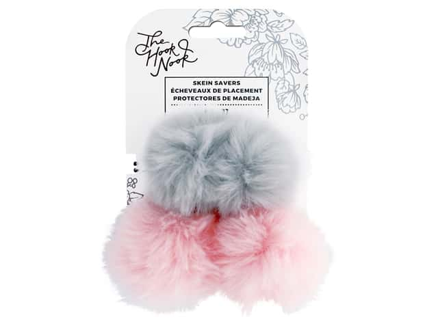 American Crafts The Hook Nook Elastic Pom Pom Fur Gray/Pink 2pc