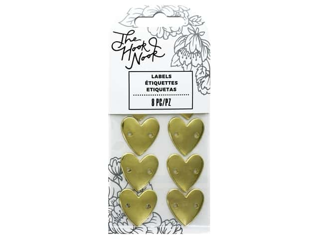 American Crafts The Hook Nook Project Labels Sew On Metal Heart 8pc
