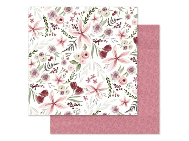 "Carta Bella Collection Flora #3 Paper 12""x 12"" Elegant Large Floral"