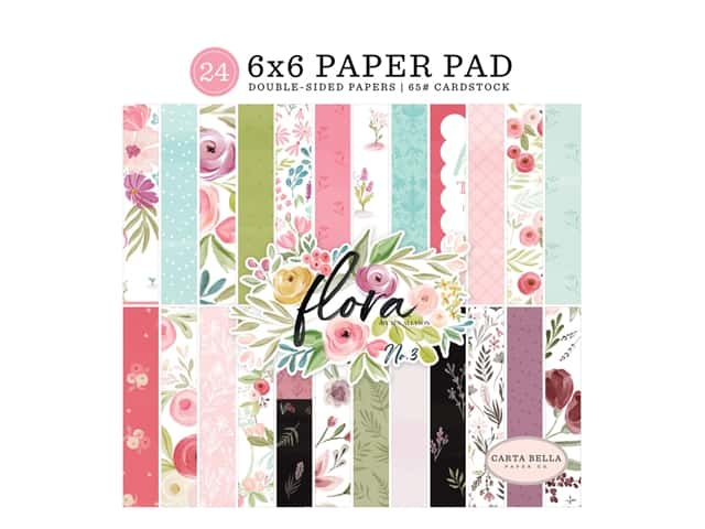 "Carta Bella Collection Flora #3 Paper Pad 6""x 6"""