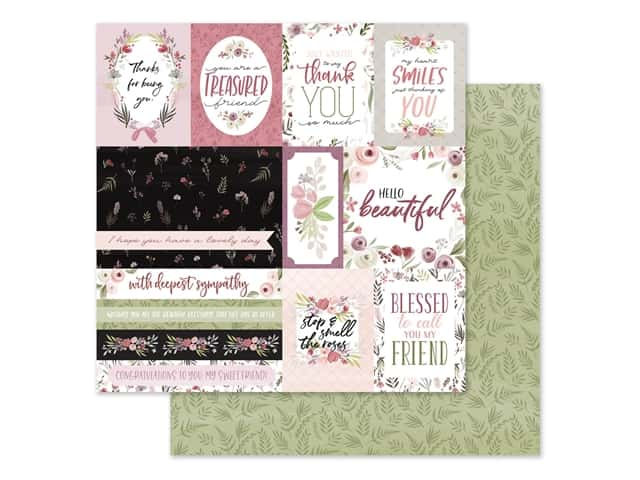 "Carta Bella Collection Flora #3 Paper 12""x 12"" Elegant Journaling Cards"