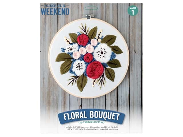 Leisure Arts Kit Make In A Weekend Embroidery 8 in. Floral Bouquet