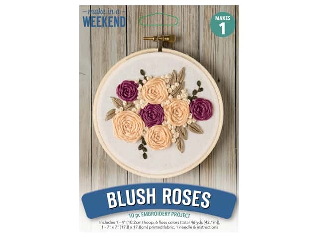 Leisure Arts Make In A Weekend Embroidery Kit - Blush Rose