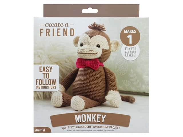Leisure Arts Kit Create A Friend Crochet Amigurumi Monkey
