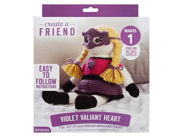 Leisure Arts Kit Create A Friend Crochet Amigurumi Violet Valiant Heart