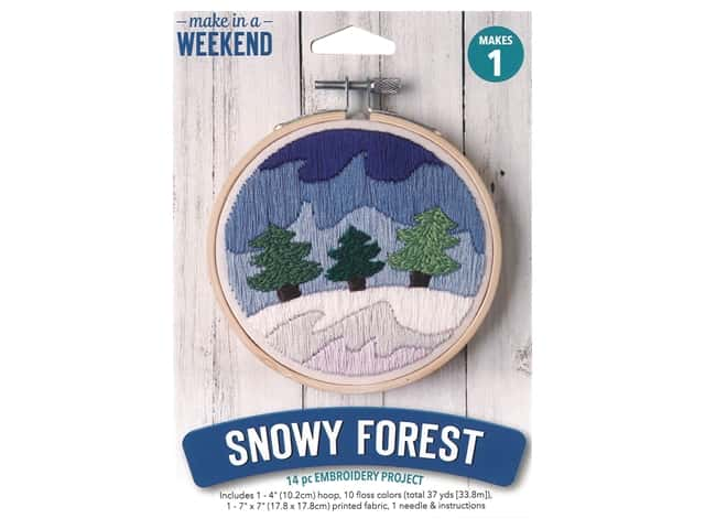 "Leisure Arts Kit Make In A Weekend Embroidery 4"" Snowy Forest"