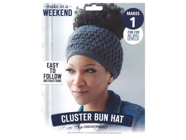 Leisure Arts Kit Make In A Weekend Crochet Cluster Bun Hat