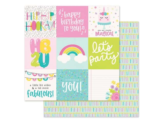"""Simple Stories Magical Birthday Paper 12""""x 12"""" Elements 4""""x 4"""""""