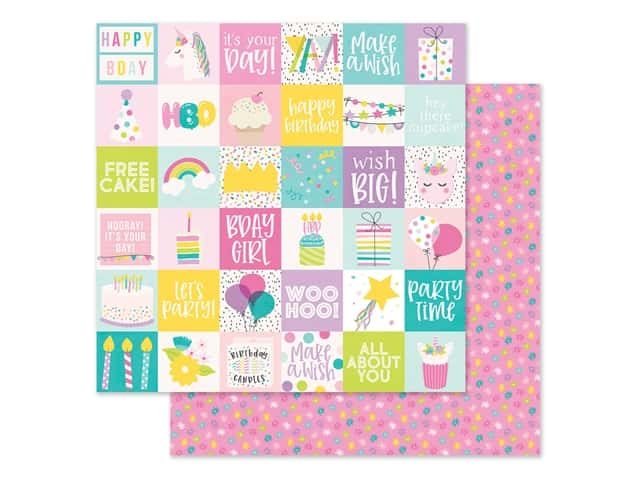 """Simple Stories Magical Birthday Paper 12""""x 12"""" Elements 2""""x 2"""""""