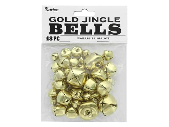 Darice Jingle Bells Assorted Size Gold 43 pc.