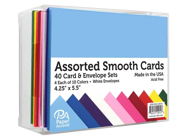 Paper Accents Blank Card & Envelopes - 4 1/4 x 5 1/2 in. - Smooth Assorted 40 pc.