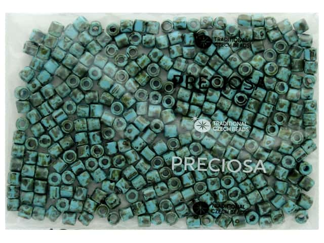 John Bead Czech Rola Bead 6.2 mm Opaque Travertine On Turquoise