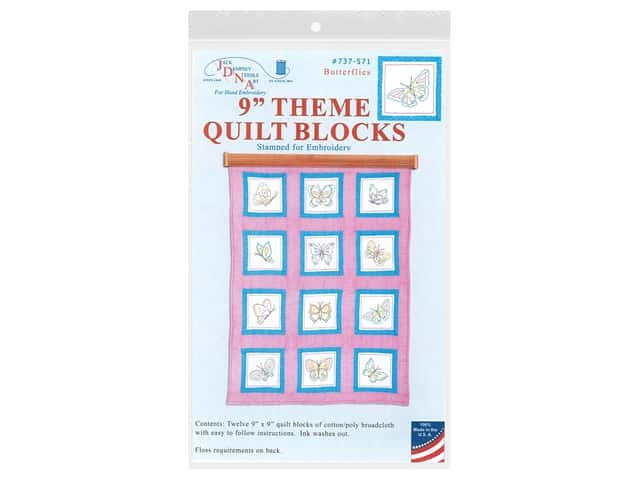 "Jack Dempsey 9"" Theme Quilt Blocks Butterflies 12pc"