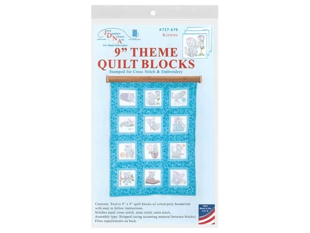 "Jack Dempsey 9"" Theme Quilt Blocks Kittens 12pc"