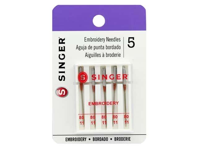 Singer Machine Needle Embroidery Size 80/11 5pc
