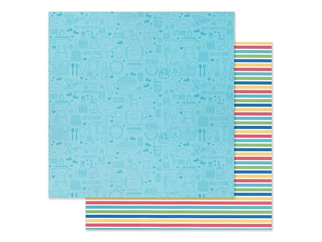 "Doodlebug Collection Bar-B Cute Paper 12""x 12"" Sno Cone Stripe"
